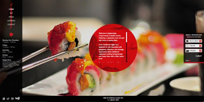 diseño web para restaurante de sushi