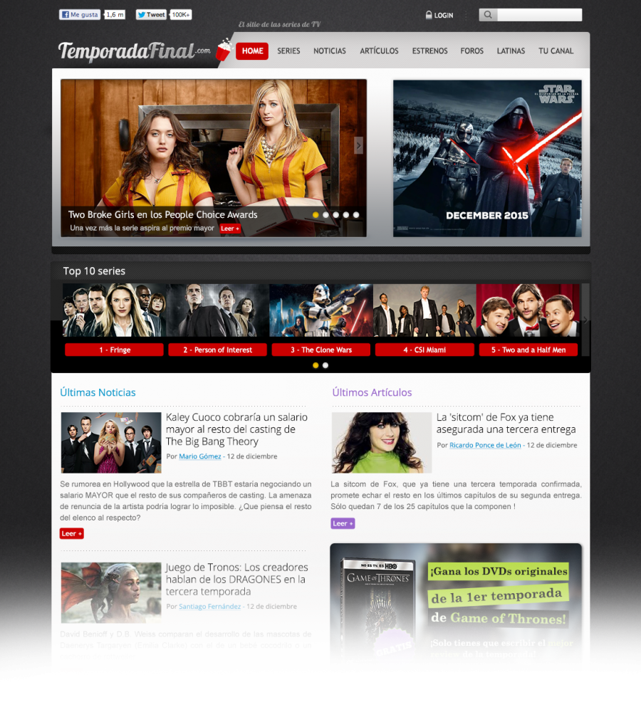 tv show website homepage