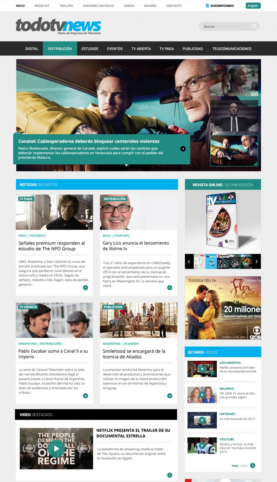 diseño de portada para sitio de noticias