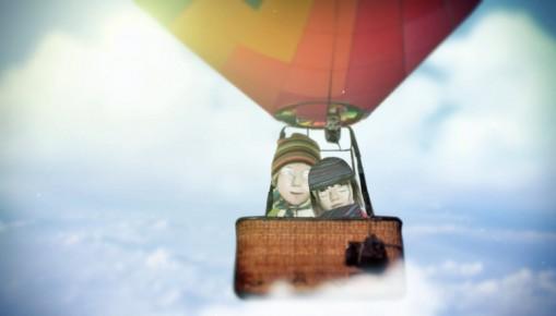 volando en un globo